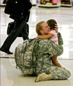 Military mom with child