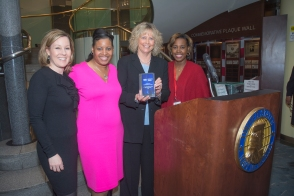 Christine Hoisington, Pamela Hardy, Robin Portman with Booze Allen Hamilton and BPW Board Member Venita Garvin